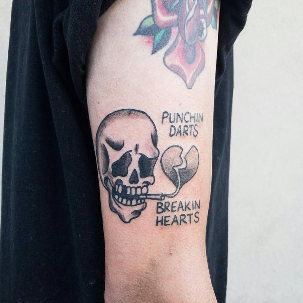 主页 纹身作品                        龚先生大臂暗黑骷髅纹身图案